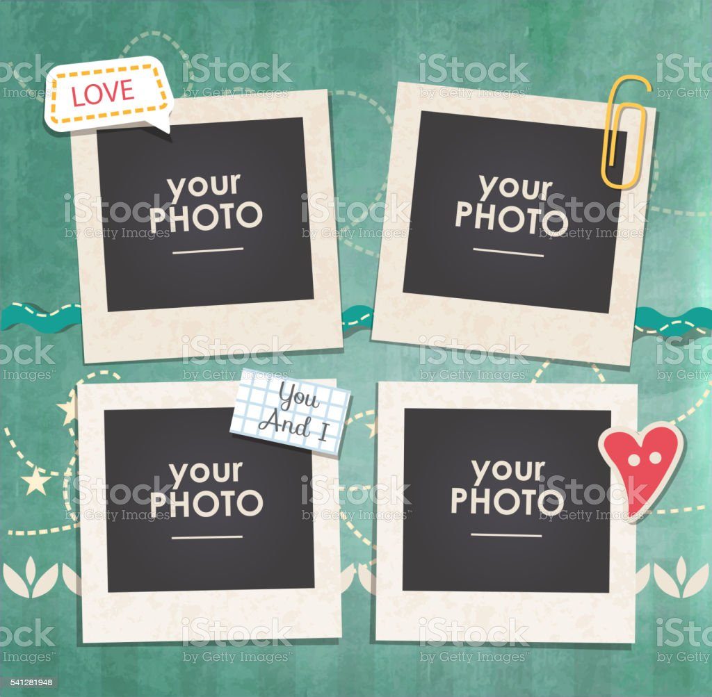 Vector template photo frame vector art illustration