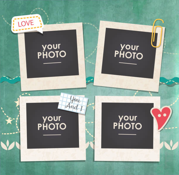 stockillustraties, clipart, cartoons en iconen met vector template photo frame - collage