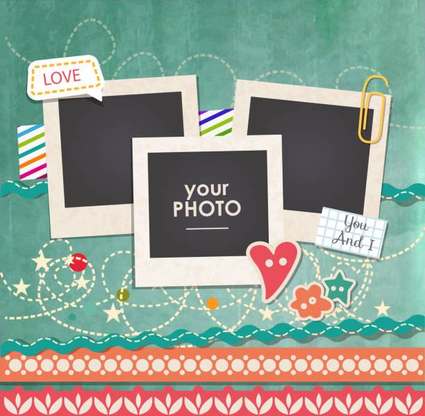 vektor vorlage mit foto-frame - liebesbild stock-grafiken, -clipart, -cartoons und -symbole