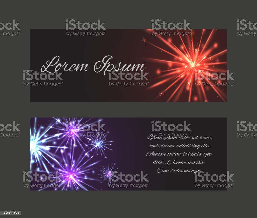 vector template vouchers gift card with fireworks stock vector art