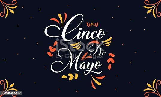 istock Vector template with calligraphic lettering for celebration Cinco de Mayo. 1308368842