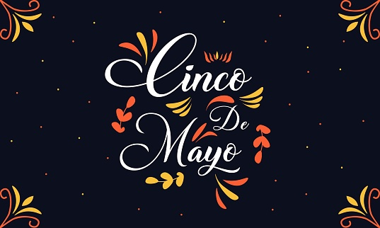 Vector template with calligraphic lettering for celebration Cinco de Mayo.