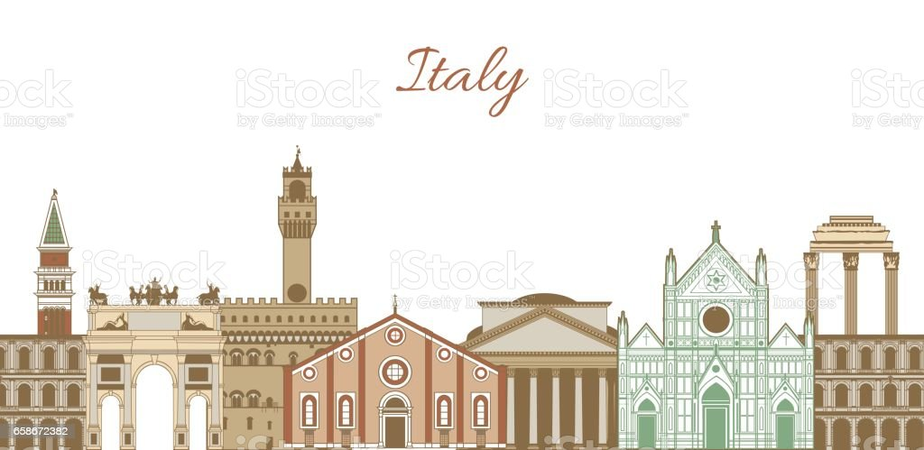 vector template with famous landmarks of Italy vector art illustration