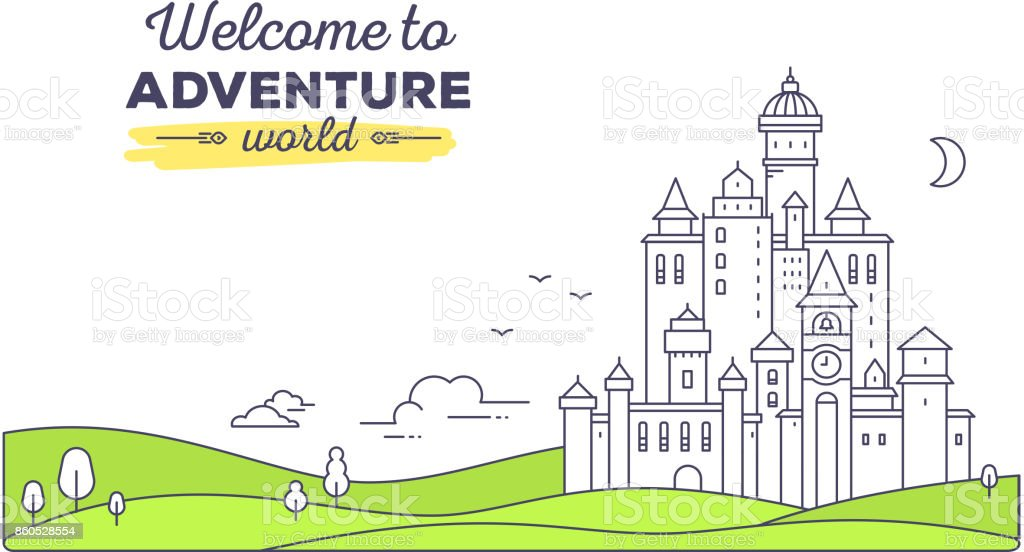 Vector template with illustration of landscape castle with tree vector template with illustration of landscape castle with tree cloud on white background with maxwellsz