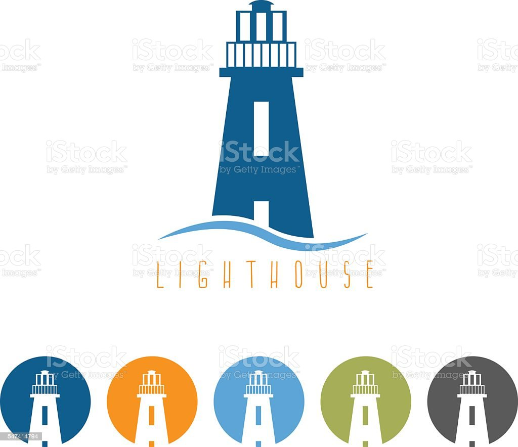 vector template with lighthouse in flat design and web icons