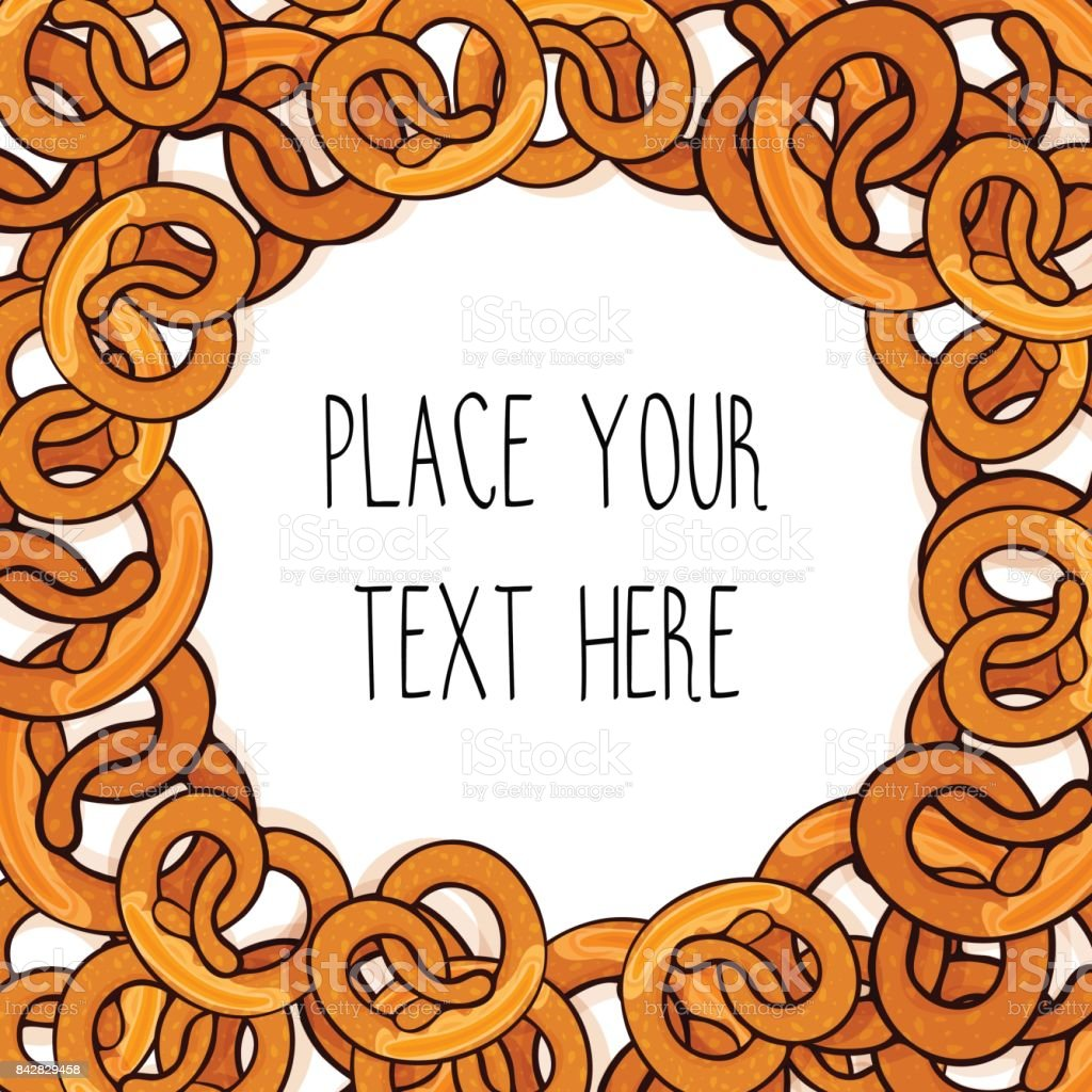 Vector template with many pretzels for fast food business. vector art illustration
