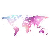 Vector template World map with global technology networking concept. Global network connections. Digital data visualization. Lines plexus. Big Data background communication. Perspective backdrop