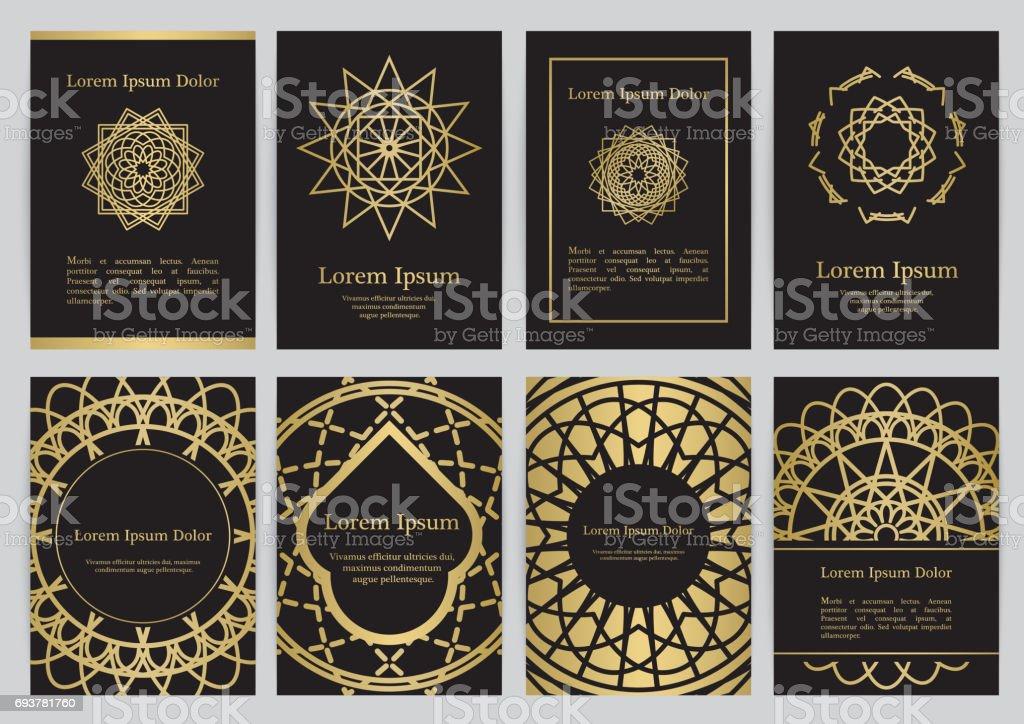 Plantillas vectoriales para A4 con símbolos de geometría sagrada - ilustración de arte vectorial