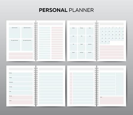 Vector templates for business planning with calendar
