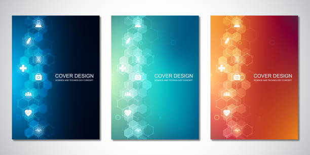 Vector templates for cover or brochure, with hexagons pattern and medical icons. Healthcare, science and technology concept. Vector templates for cover or brochure, with hexagons pattern and medical icons. Healthcare, science and technology concept backgrounds icons stock illustrations