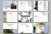 Vector templates for presentation slides. Abstract multicolored background of blurred