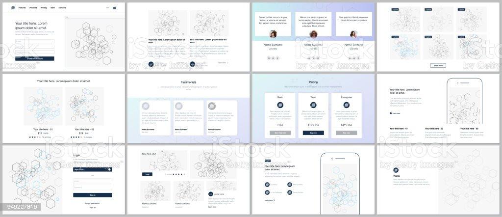 ウェブサイトのデザイン最小プレゼンテーションポートフォリオ ベクトル