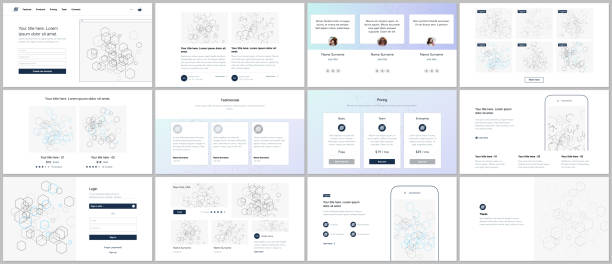 vector templates for website design, minimal presentations, portfolio. ui, ux, gui. design of headers, dashboard, contact forms, features, pricing, e-commerce page, blog etc. social network concept. - pricing infographics stock illustrations, clip art, cartoons, & icons