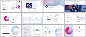 Vector templates for website design, minimal presentations, portfolio with geometric patterns, gradients, fluid shapes. UI, UX, GUI. Design of headers, dashboard, contact forms, features page, blog
