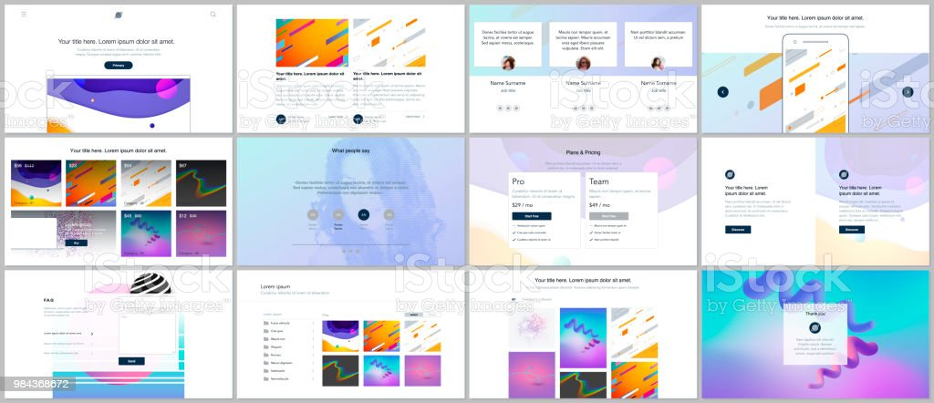 Vector templates for website design, minimal presentations, portfolio with geometric colorful patterns, gradients, fluid shapes. UI, UX, GUI. Design of headers, dashboard, features page, blog etc. vector art illustration