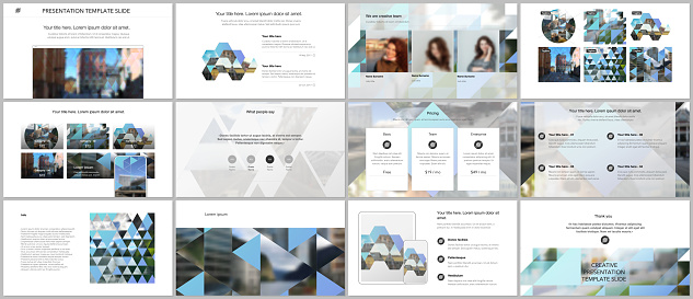 Vector templates for website design, presentations, portfolio. Templates with triangles, triangular pattern for presentation slides, flyer, leaflet, brochure cover. Backgrounds with place for photo.