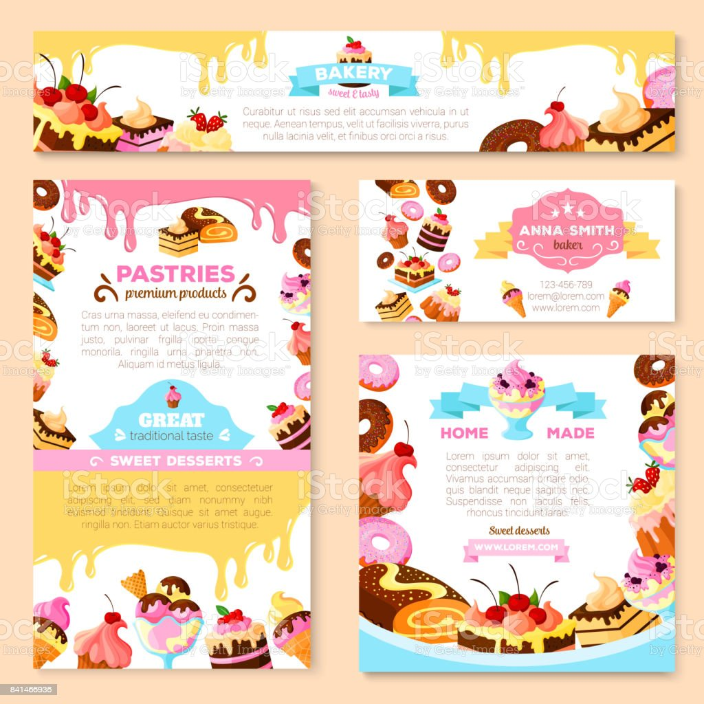 Vector templates of bakery shop or cafe patisserie vector art illustration