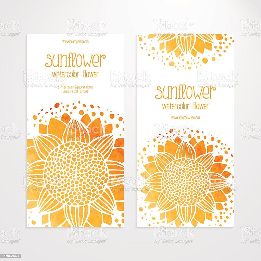 Vektorvorlagen Mit Aquarell Sonnenblumen Von Banner Stock Vektor Art ...