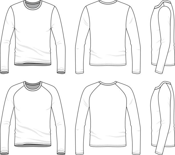 royalty free long sleeve t shirt template clip art vector images illustrations istock. Black Bedroom Furniture Sets. Home Design Ideas