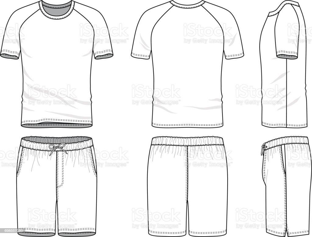 Vektorvorlagen Von Leeren Tshirt Und Shorts Stock Vektor Art und ...