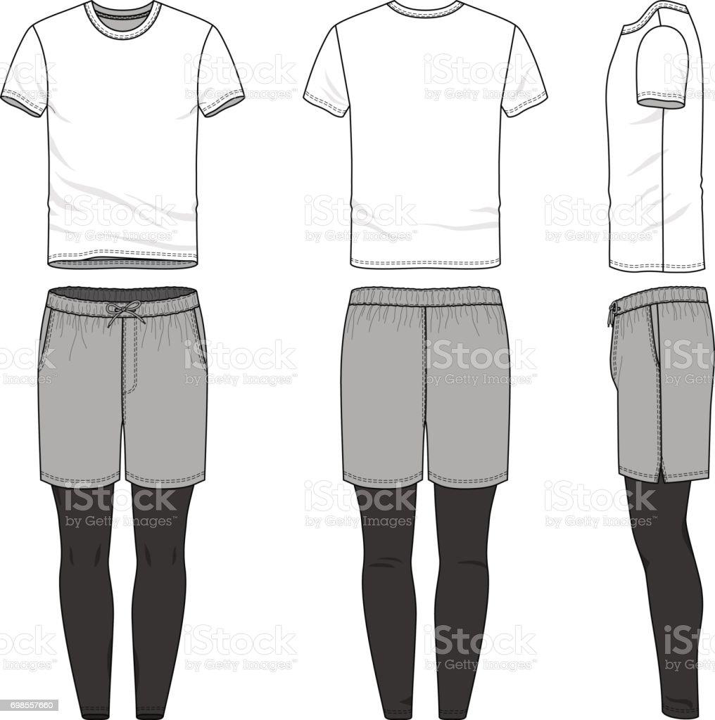 jogging pants vector templates of blank t shirt shorts pants