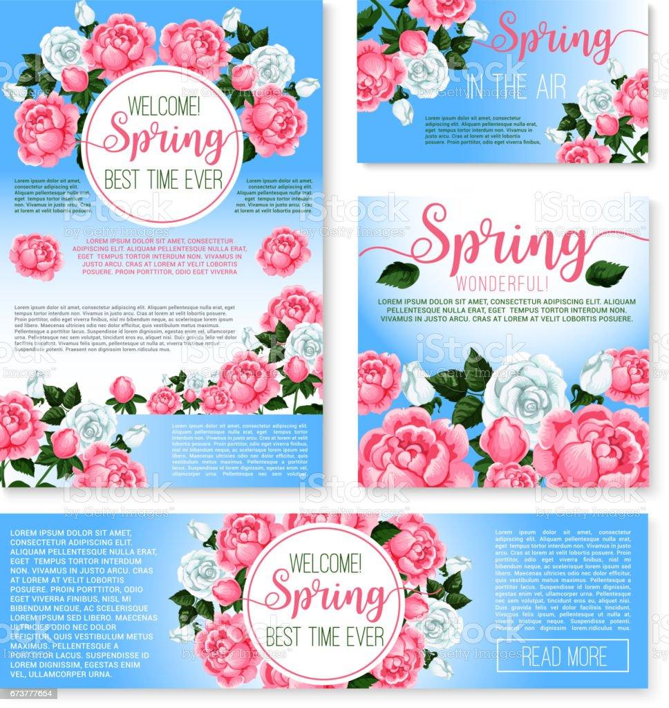 Vector templates set for spring time greetings vector templates set for spring time greetings – cliparts vectoriels et plus d'images de affiche libre de droits