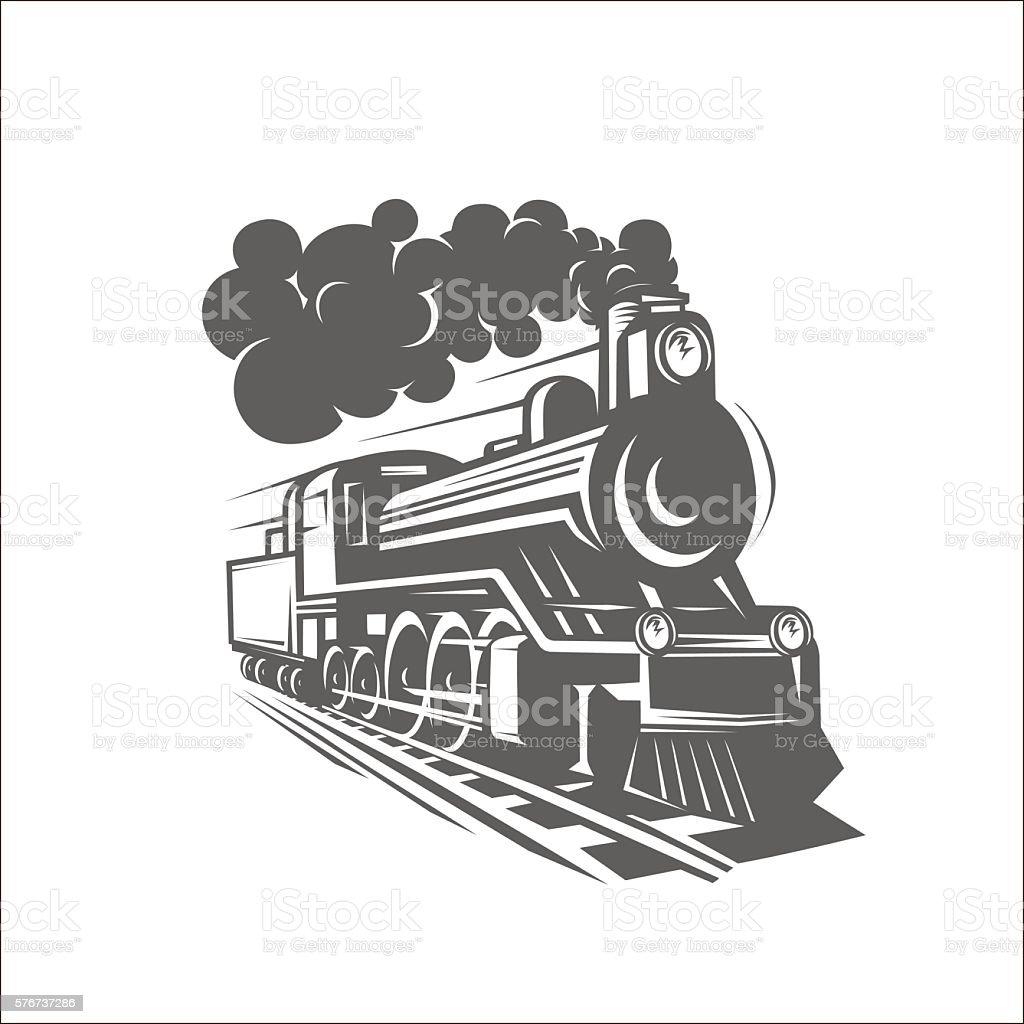 Vector templates with a locomotive, vintage train, logotype, ill vector art illustration