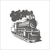 Vector templates with a locomotive, vintage train, logotype, ill