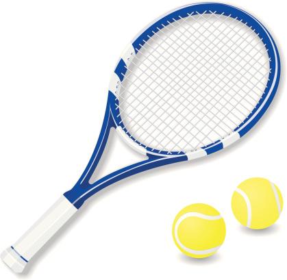 Vector tennis racket and balls