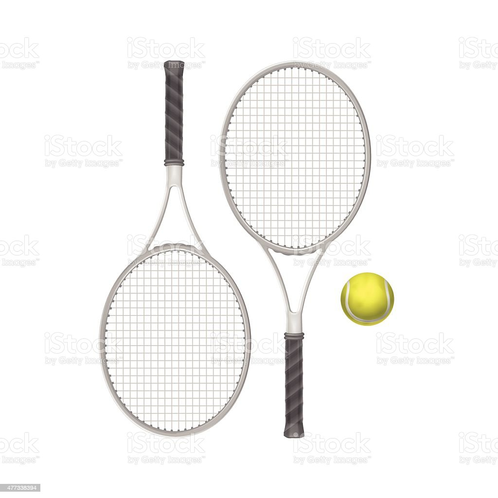 Vector Tennis Rackets With Ball Isolated On White Background Stock Illustration Download Image Now Istock