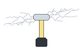 istock Vector tesla coil isolated illustration in flat. Electrical transformer concept. 1247966937