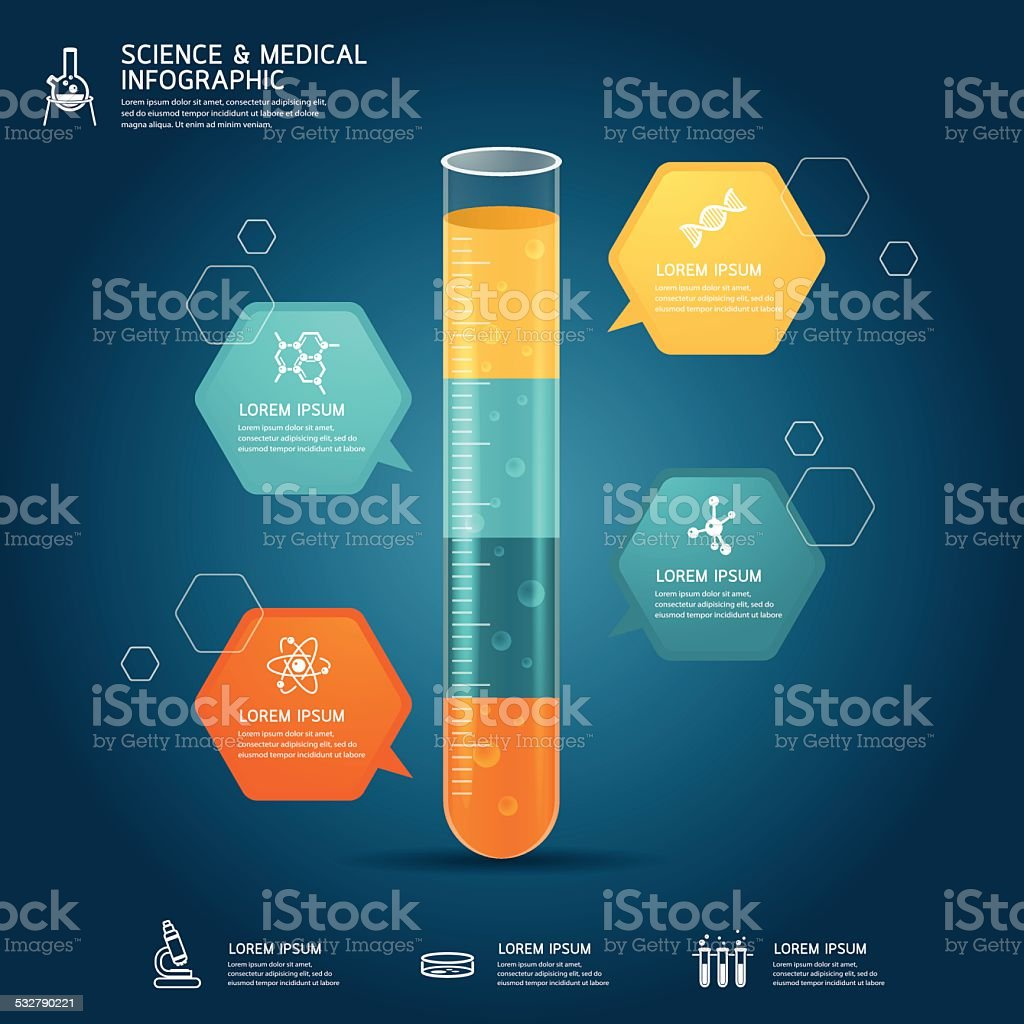 Vector test tube glass education chemistry infographic concept vector art illustration
