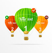 Vector text boxes, infographics and air ballons