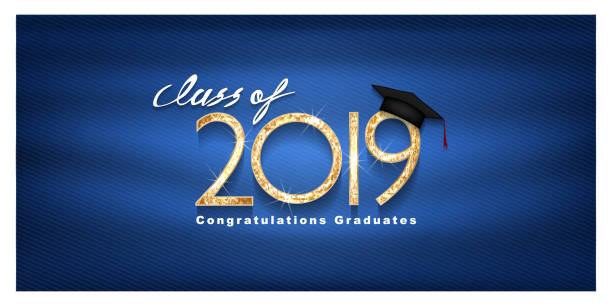 Vector text for graduation gold design, congratulation event, T-shirt, party, high school or college graduate. Lettering Class of 2019 for greeting, invitation card vector art illustration