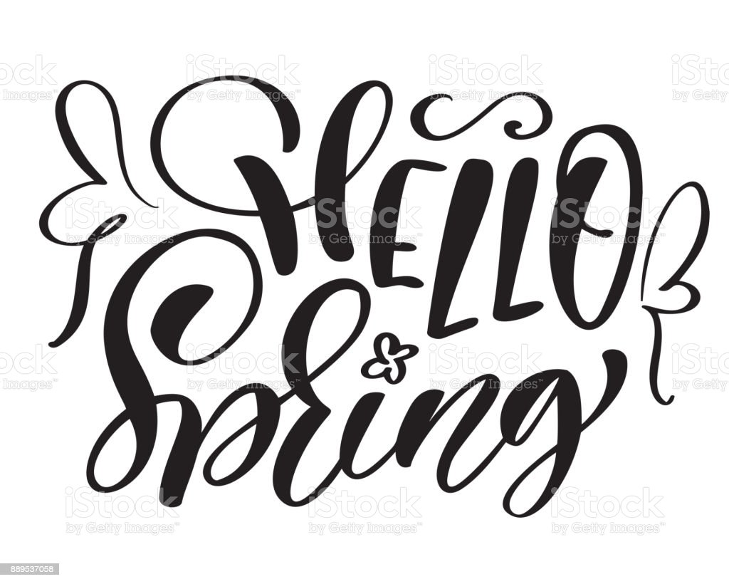 Vector text hand drawn hello spring motivational and inspirational