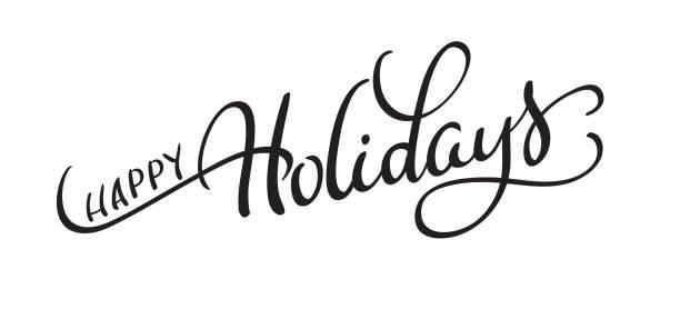 向量文本在白色背景上的節日快樂。書法刻字向量圖 eps10 - happy holidays 幅插畫檔、美工圖案、卡通及圖標