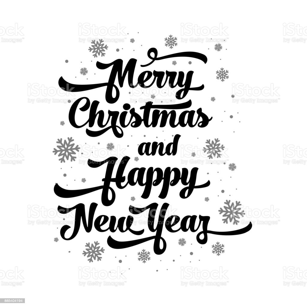 vector text on white background merry christmas and happy new year lettering for invitation and