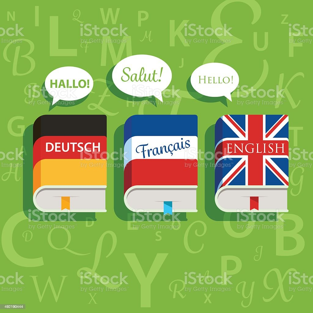 Vector textbooks of English German and French grammar vector art illustration