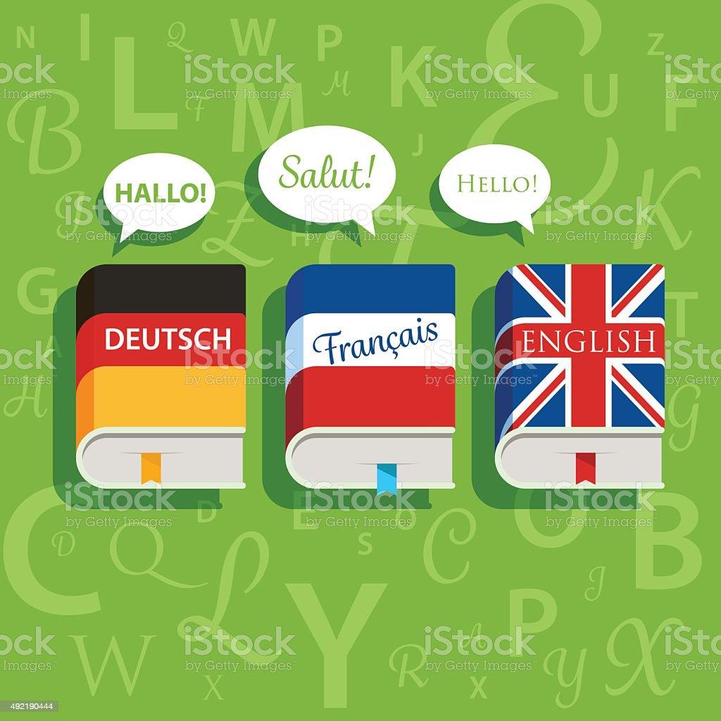 Livres de vecteur anglais allemand et français de grammaire - Illustration vectorielle