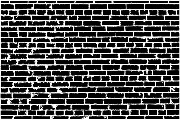 Vector texture of black old brick wall. Vector illustration vector art illustration