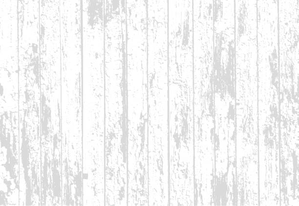 vector texture of realistic bright white old painted wooden fence. vector illustration - wood texture stock illustrations