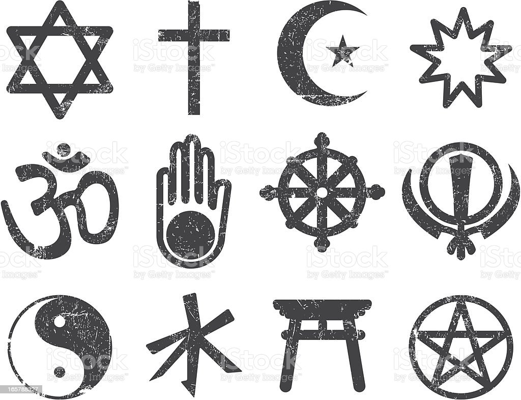 Vector Textured Religion Icon Set vector art illustration