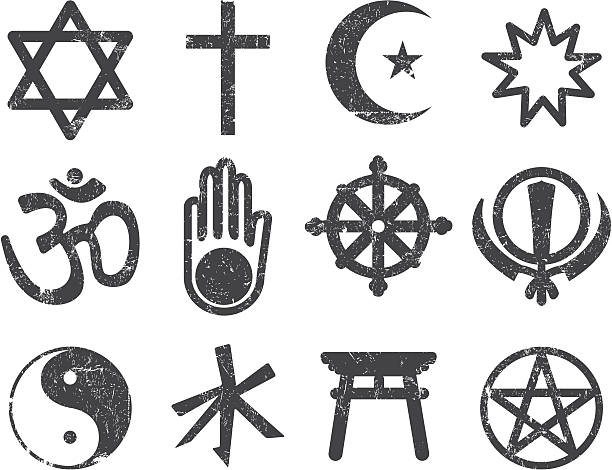 Vector Textured Religion Icon Set A Textured Religious icon set. A vector file and a high resolution .JPEG is included with a download.  religious symbol stock illustrations