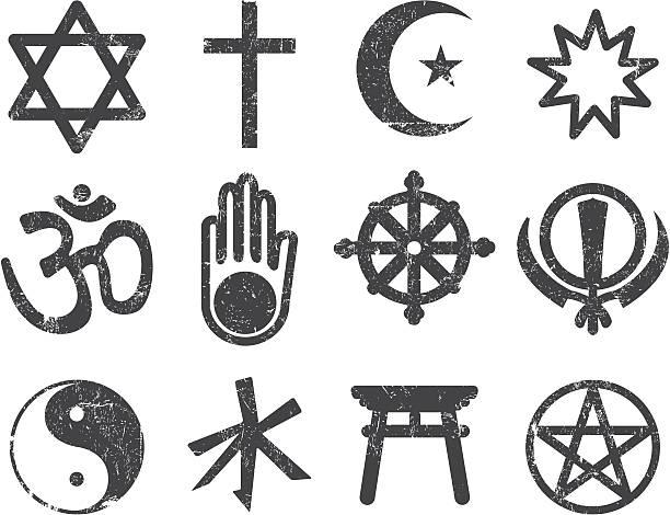 vector textured religion icon set - religious symbols stock illustrations, clip art, cartoons, & icons