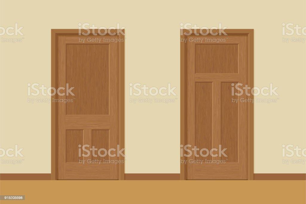 Vector Textured Wooden Interior Doors With Door Frames In Flat Style