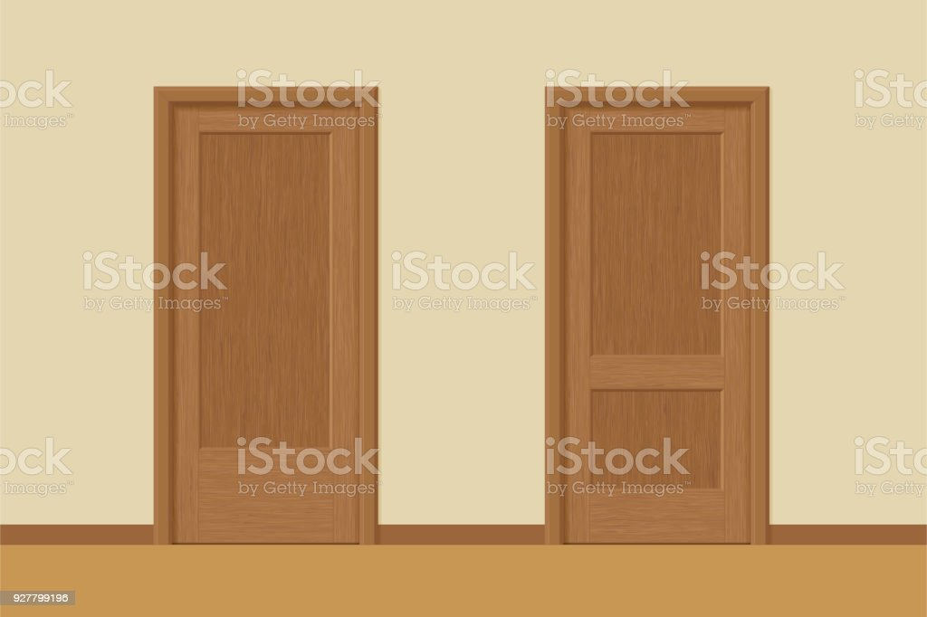 Vector Textured Wooden Interior Doors With Door Frames In Flat Style