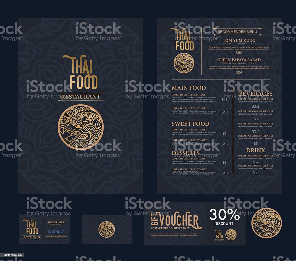 Vetor comida tailandesa menu do restaurante modelo. - ilustração de arte em vetor