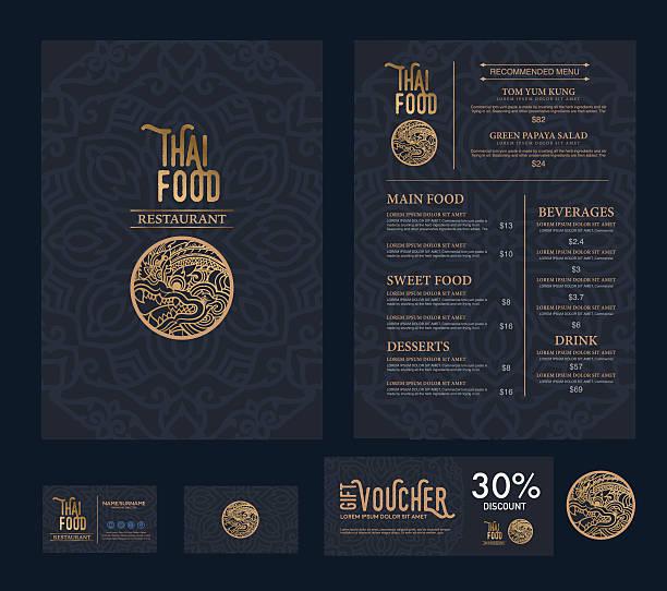 vector thai food restaurant menu template. - thai food stock illustrations, clip art, cartoons, & icons