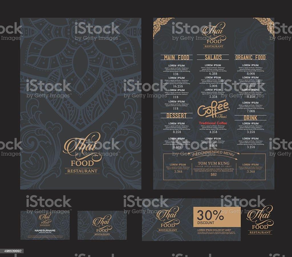 vector thai food restaurant menu template. vector art illustration