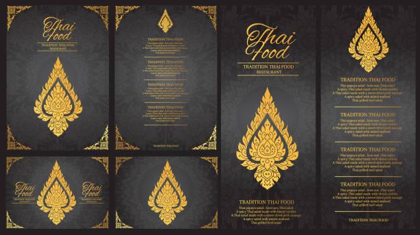 stockillustraties, clipart, cartoons en iconen met vector thais eten restaurant template.thai traditie menuachtergrond - thailand